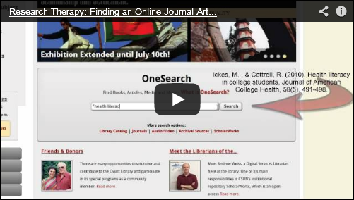 article citation in onesearch research therapy video