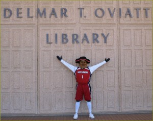 Matty the Matador in front of Library