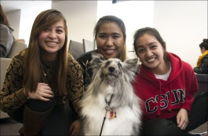Sheltie dog named Tramp and students