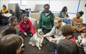 Sheltie dog named Tramp with group of students