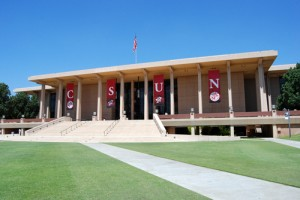 Oviatt Library outside with CSUN banners