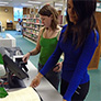 Two students scanning