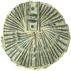 $100 bills in a circle