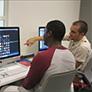 Students working in the Creative Media Studio