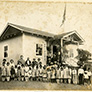 Children and Adults at School in Japanese Internment Camp
