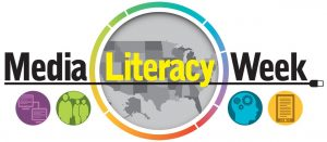 Media Literacy Week text and map of the U.S. and globe