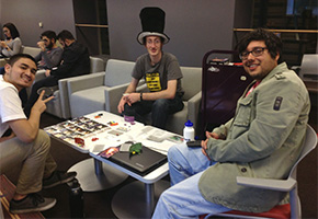 CSUN Board Game Club members playing a game in ASRS room