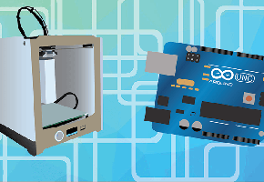Vector image of 3d printer and arduino