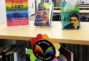Books on display for lgbt month in the oviatt library