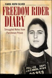 Freedom Rider Diary lettering and woman's face next to prison cell