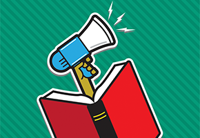 Book with megaphone