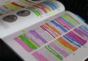 Highlighted textbook