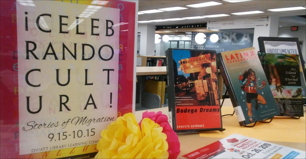 book display with paper flowers