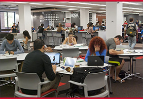 Students in the Learning Commons at CSUN Oviatt Library