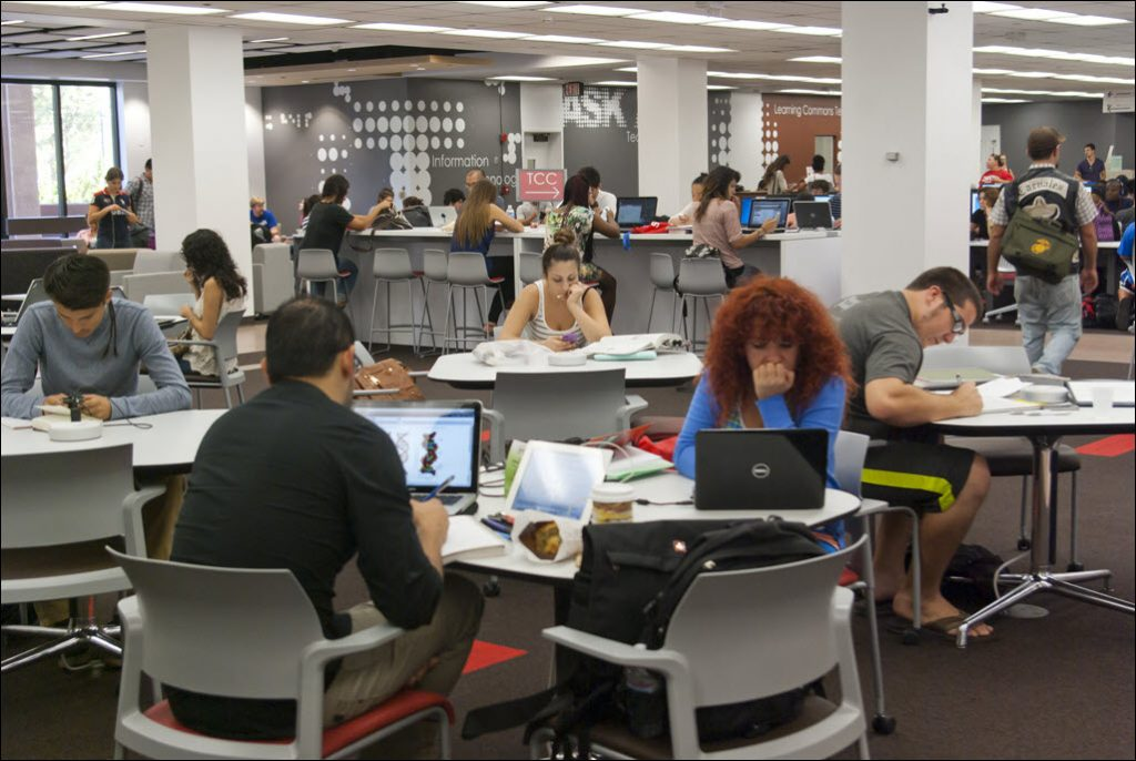 students working in learning commons