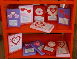 books decorated for Valentines