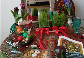 table that display items that celebrate Nowruz