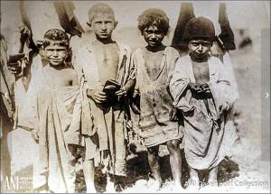 barefoot homeless Armenian children