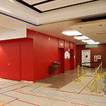 Freshly Painted Elevators and Construction in the Lobby