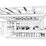 Preliminary sketches for the new cafe area in the library entrance.