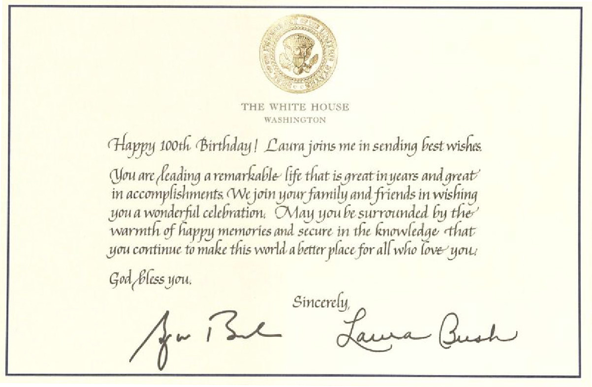 Peggy Gilbert Collection – Birthday Card from White House