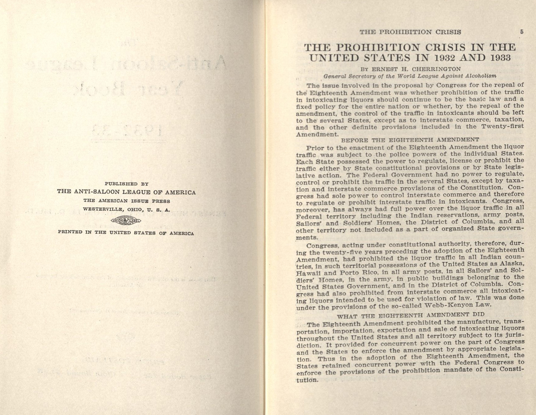 Anti Saloon League Yearbook 1932 33 Hv 5286 A8 1932 33