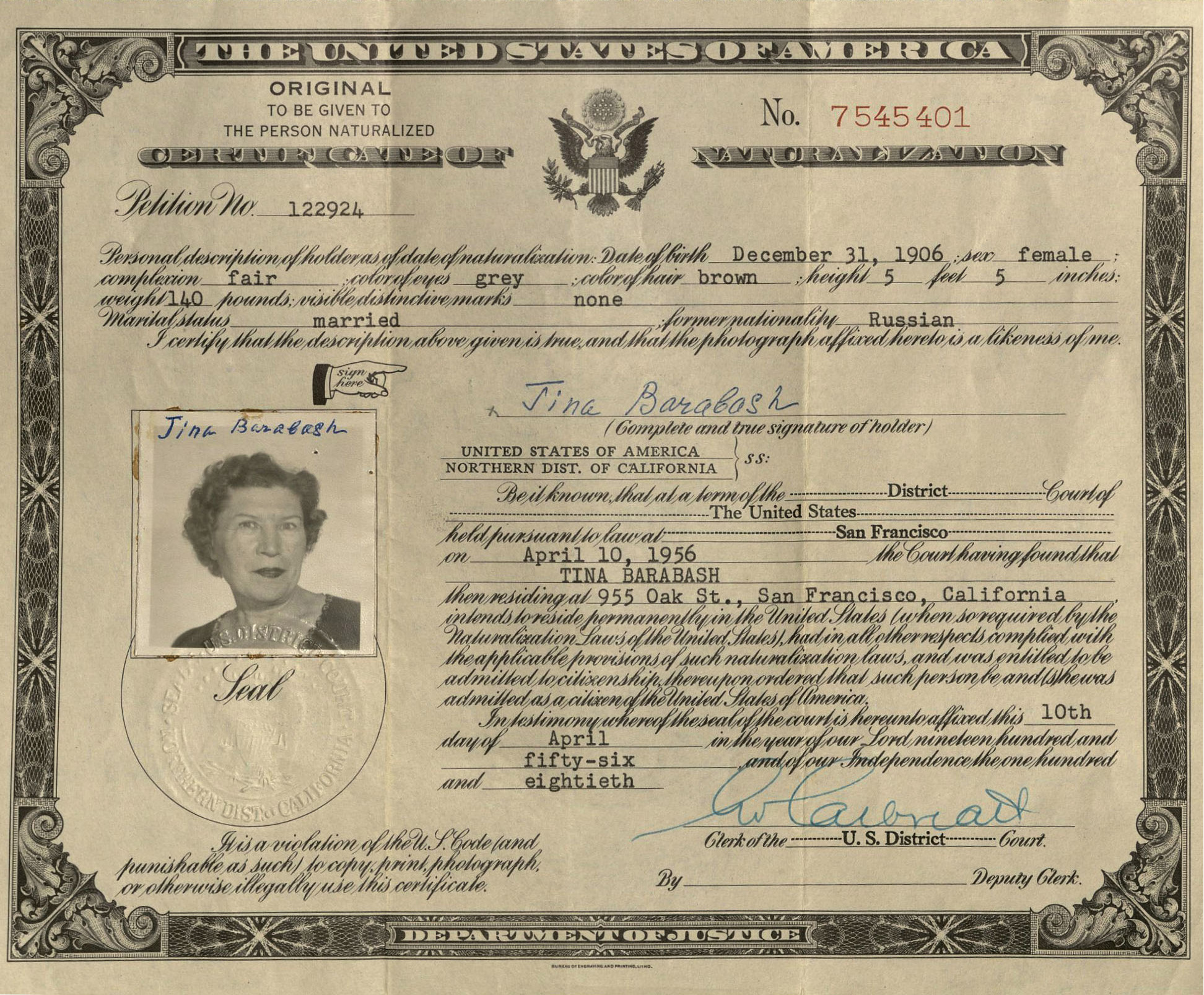 Dr tatiana belitsky collection oviatt library us naturalization certificate 1956 xflitez Choice Image