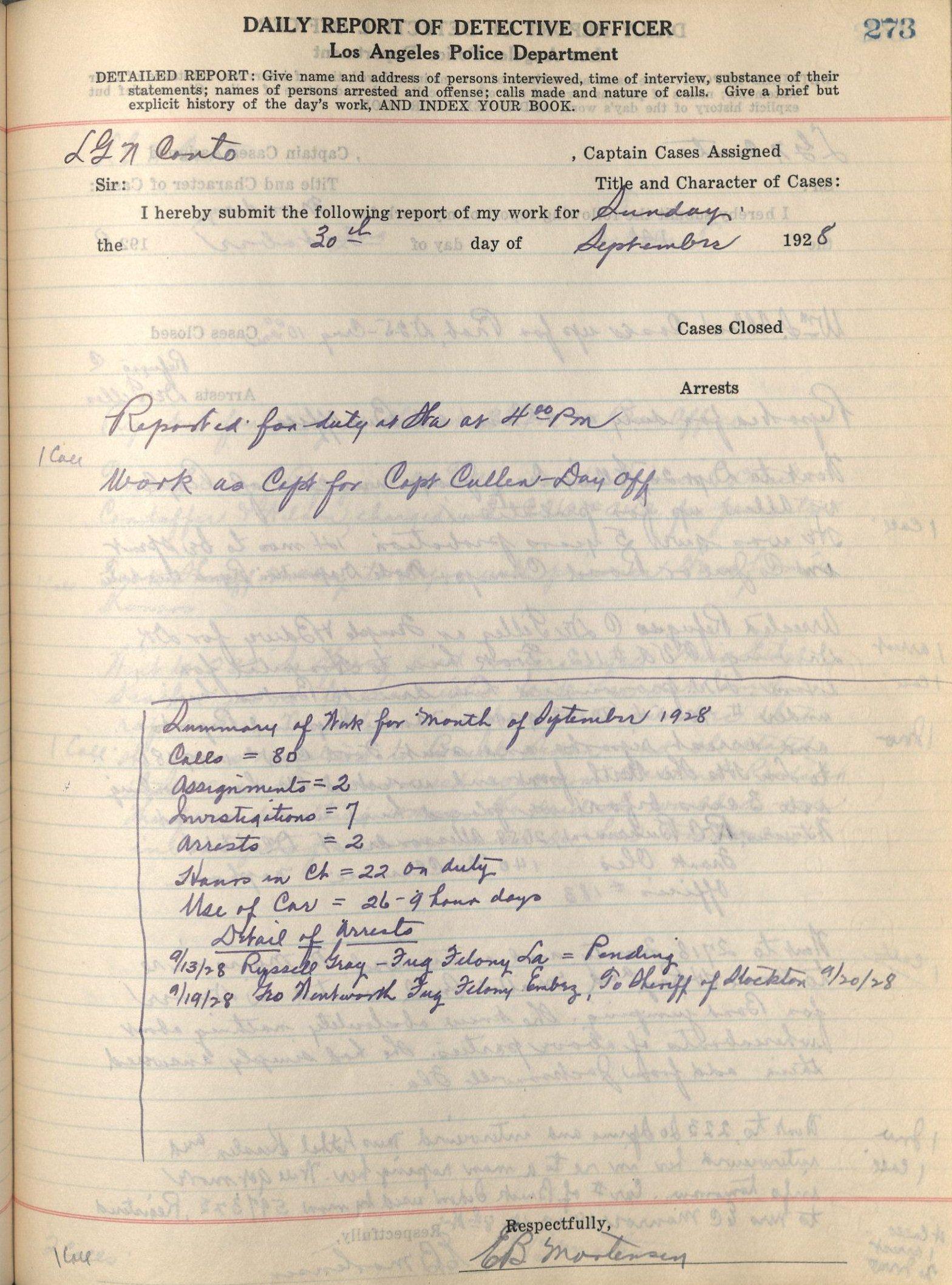 Detective E  B  Mortensen Daily Reports Collection | Oviatt Library