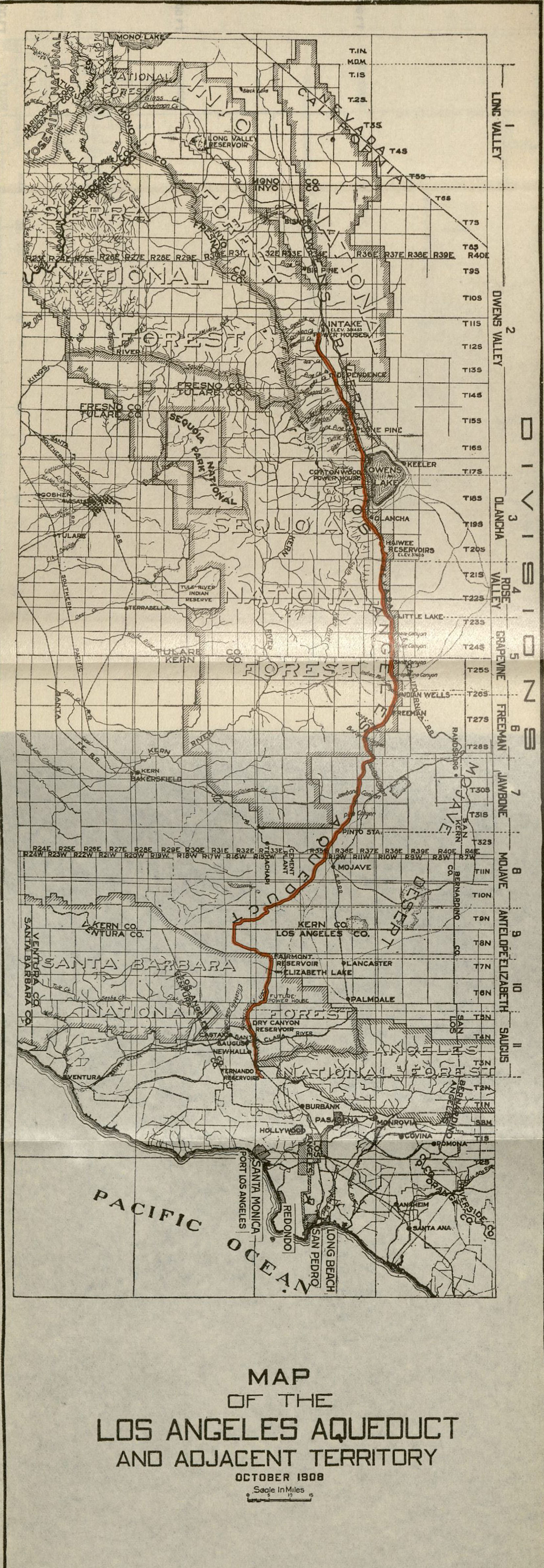 Map Of The Los Angeles Aqueduct 1908 Catherine Mulholland Collection