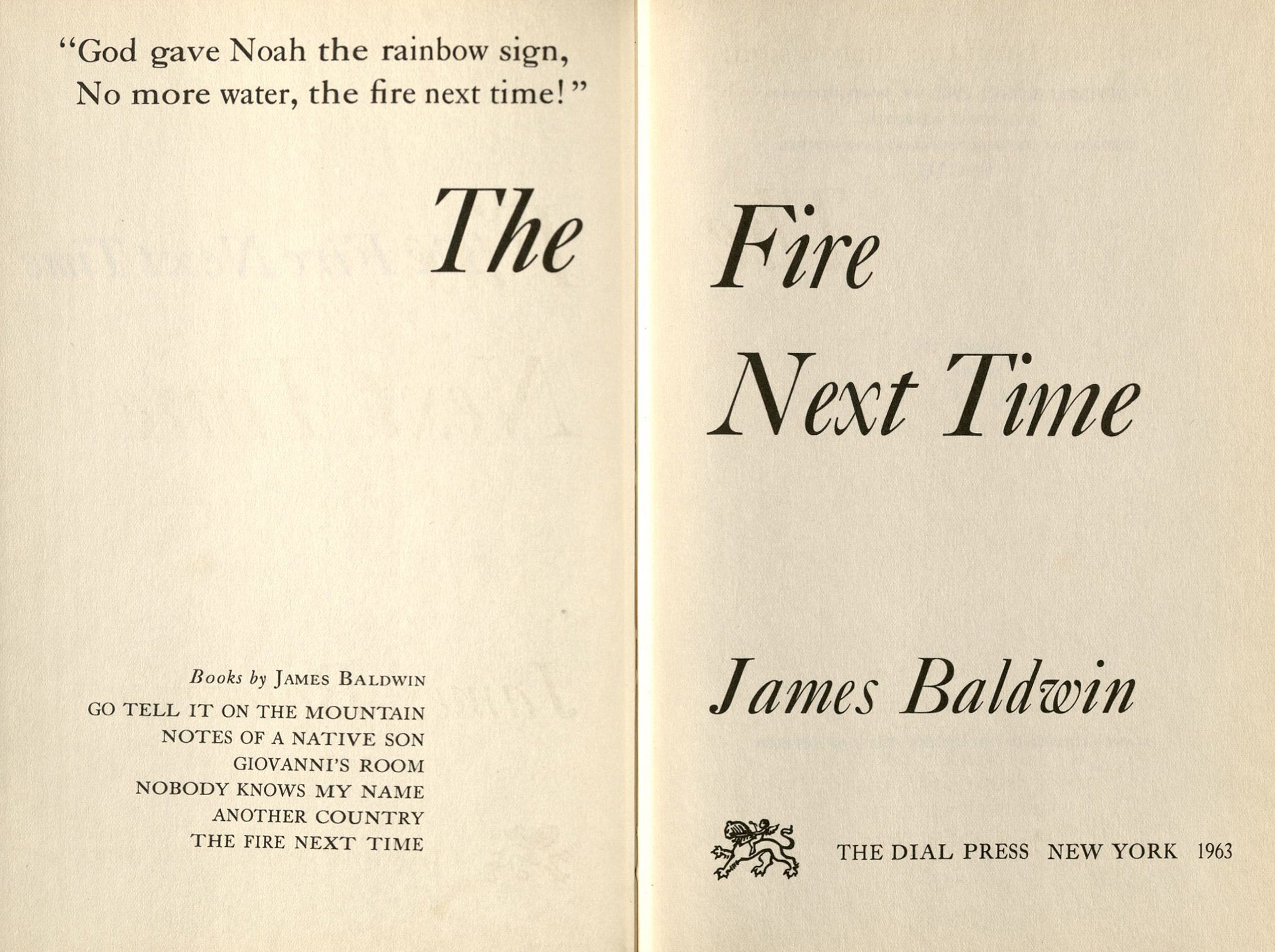 the works of james baldwin oviatt library title page of the fire next time 1963