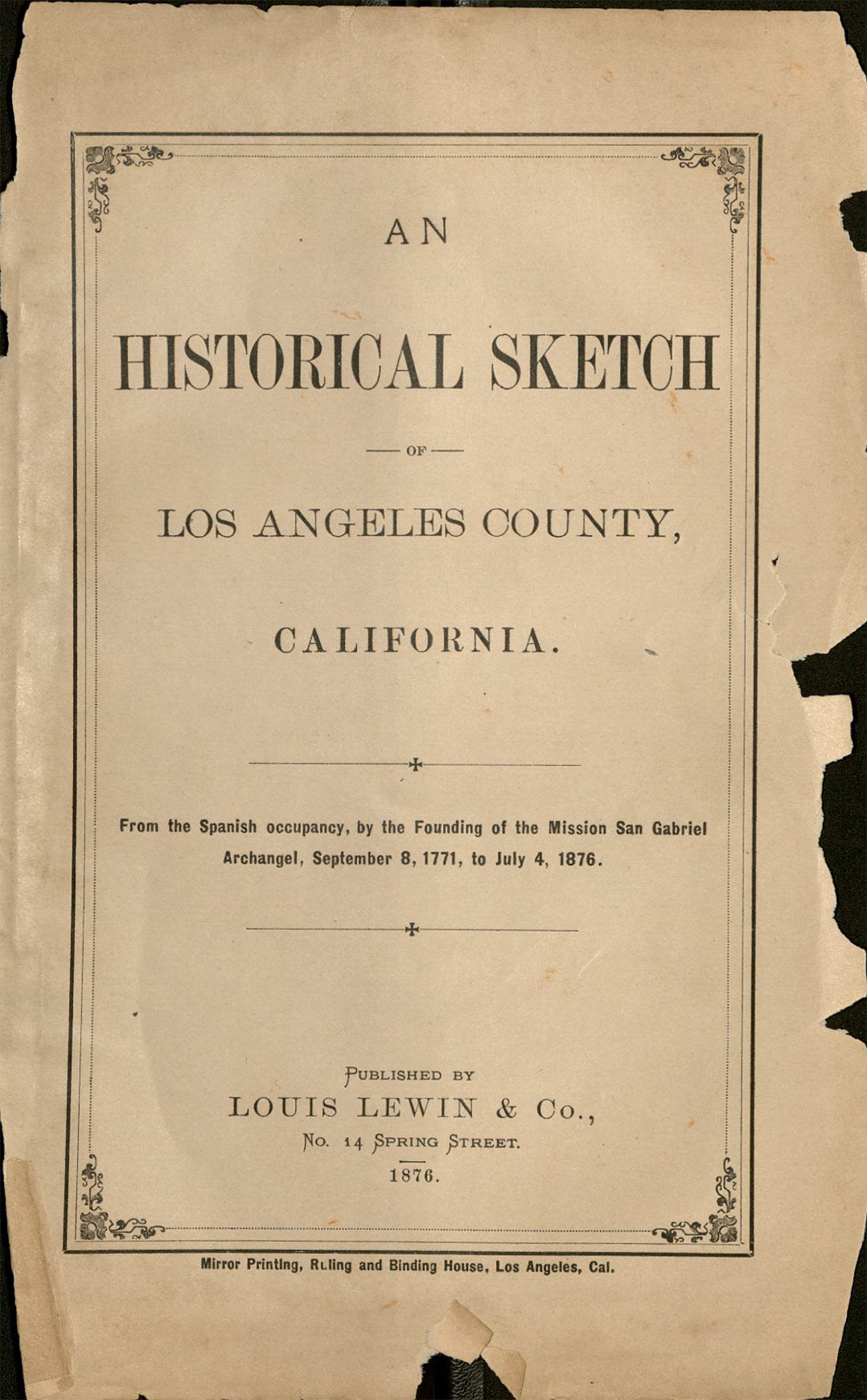 Color printing csun - Cover An Historical Sketch Of Los Angeles County From The Spanish Occupancy By