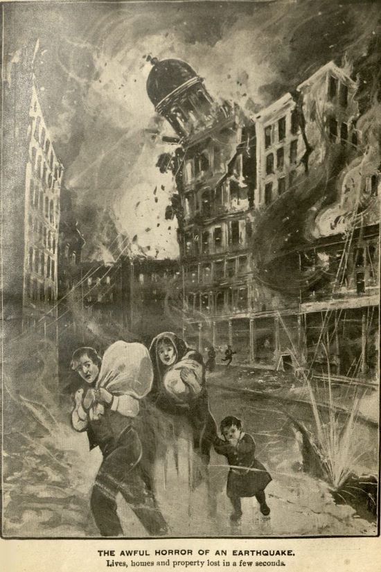 a drawing in san francisco earthquake horror titled the awful horror of an earthquake
