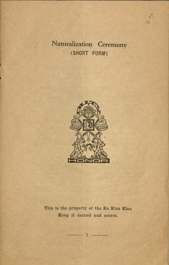 ku klux klan realm of california collection oviatt library naturalization ceremony booklet
