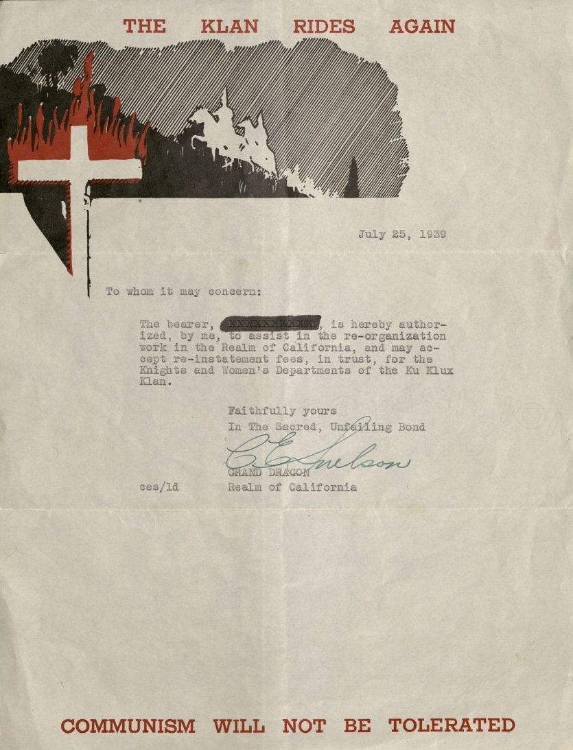 ku klux klan realm of california collection oviatt library letter from the grand dragon to reinstate the re organization of the realm of california