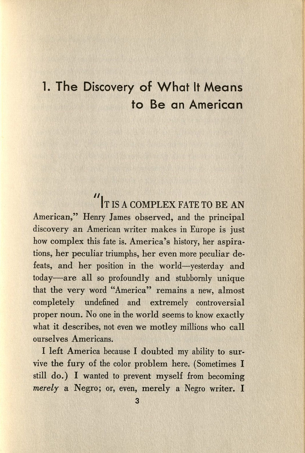 the works of james baldwin oviatt library first page of essay the discovery of what it means to be an american