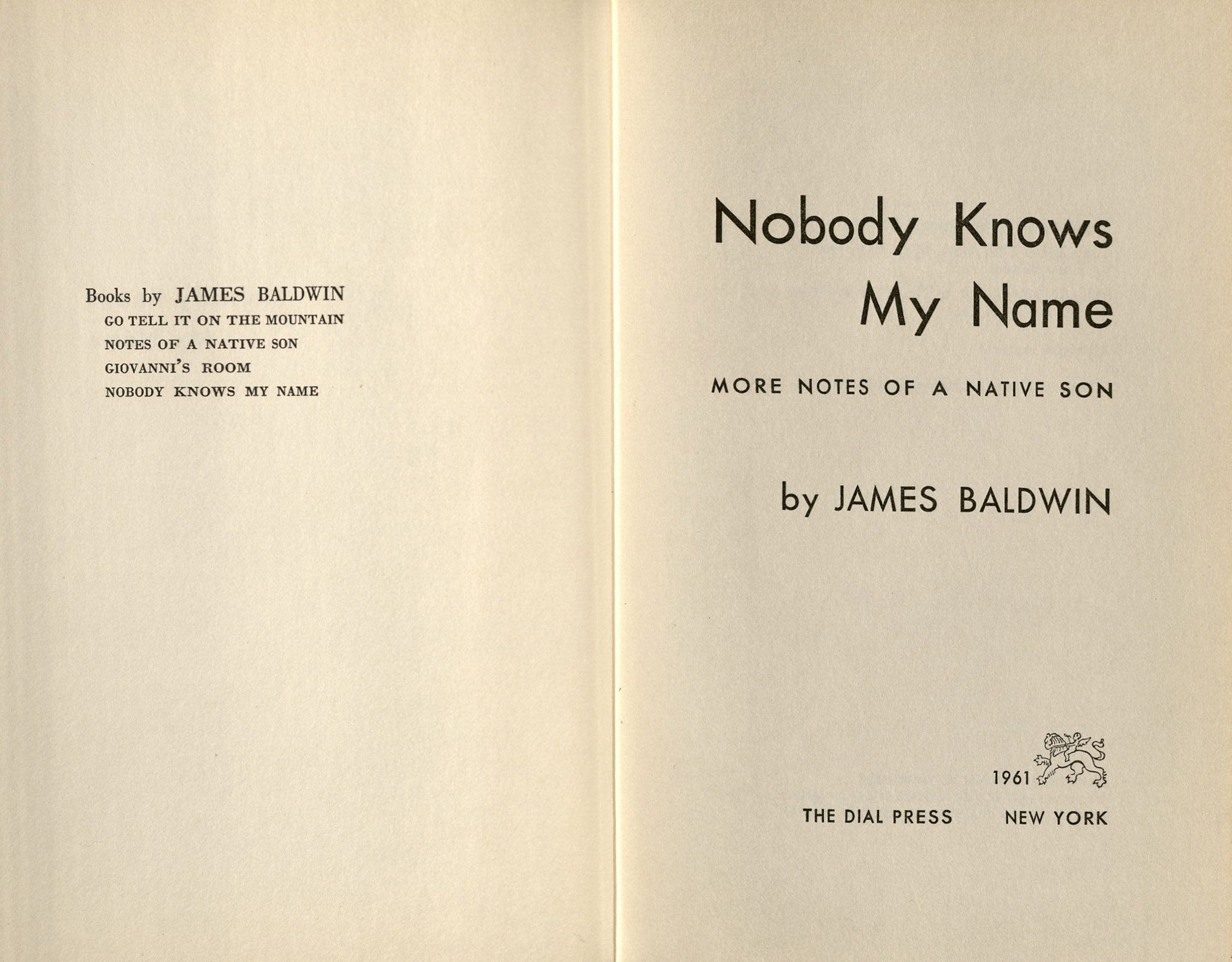 the works of james baldwin oviatt library title page of nobody knows my more notes of a native son