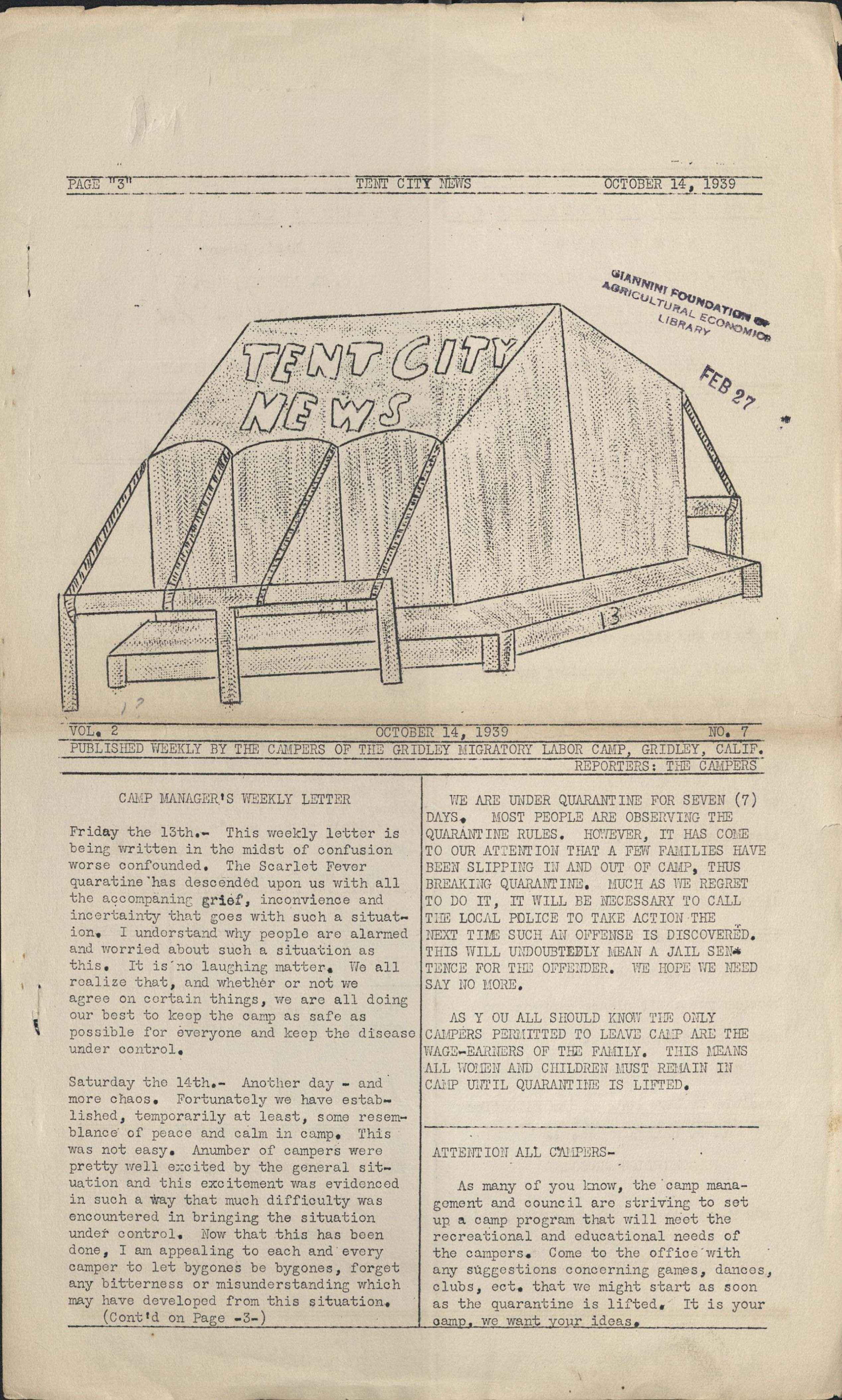 Migratory Labor Camp Newsletters Oviatt Library