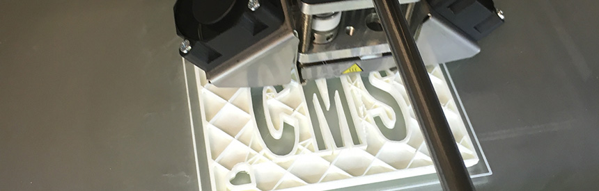 3D Printer printing CMS for Creative Media Studio