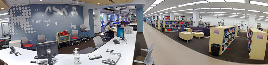 Panorama of the Learning Commons at the Oviatt Library