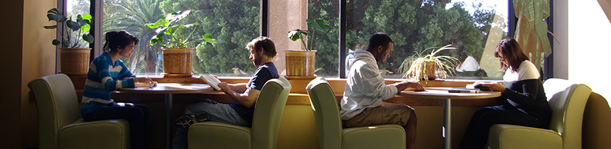 Building a Learning Commons Image - Students sitting at study area.