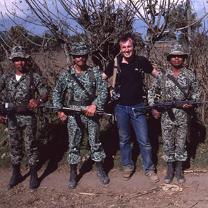 Richard Cross and soldiers in Guatemala