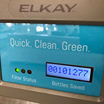 Refillable water bottle station in the Oviatt Library