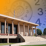 The Oviatt Library with a Spiral Shaped Clock