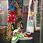 Pants and shoes featuring images of Bob Marley