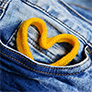 lace shaped like a heart in a pocket