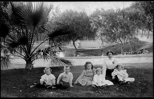 Lillie Mulholland and children at Hollenbeck Park.