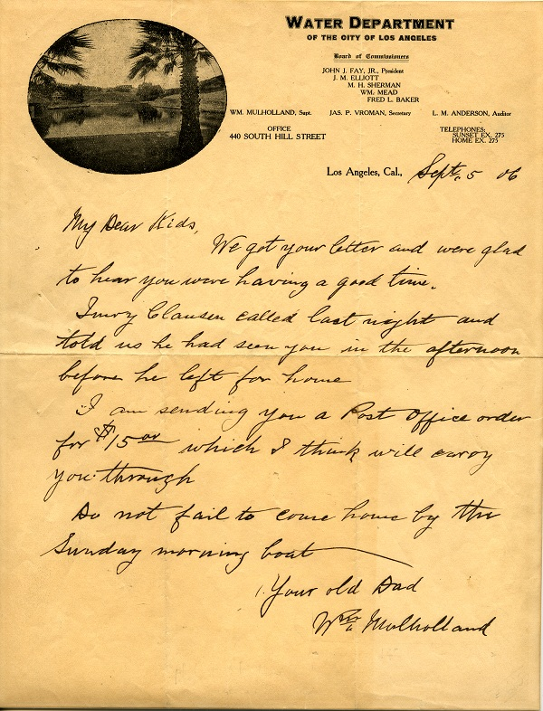 """Letter from William Mulholland to his """"Dear Kids."""""""