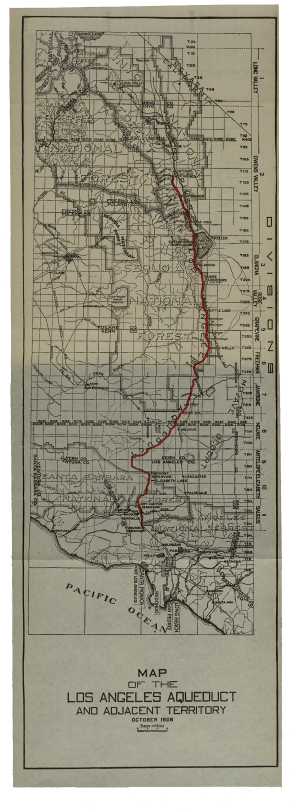 Proposed map of the Aqueduct pipeline, from the Owens Valley to Los Angeles.