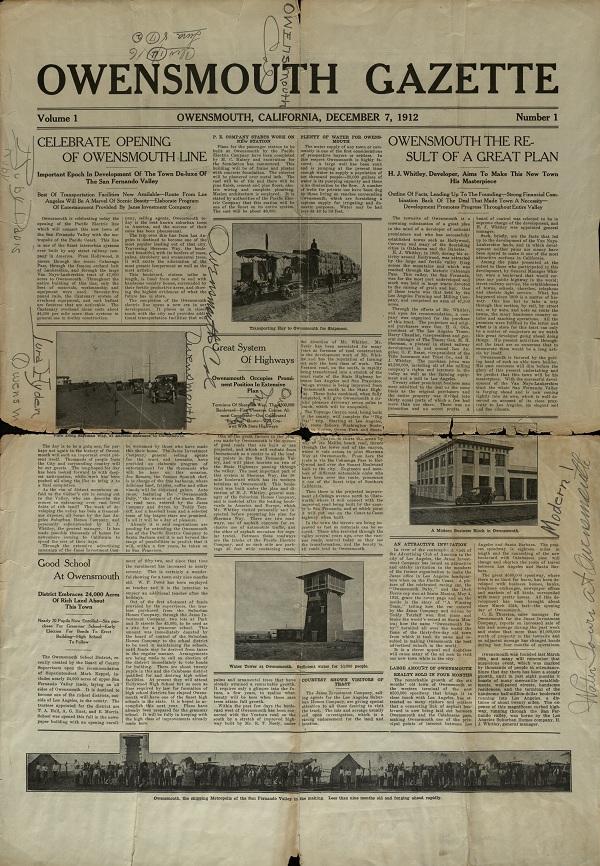 First issue of the Owensmouth Gazette, vol. 1, no. 1, December 7, 1912.
