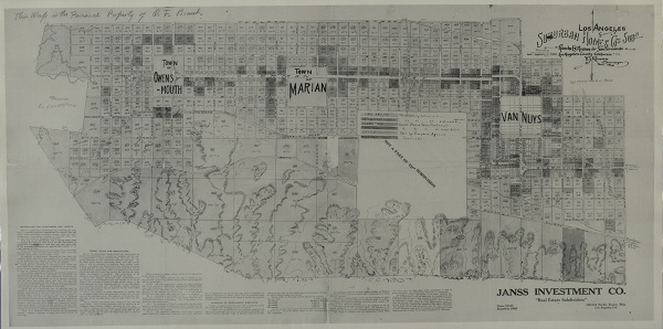 Suburban Homes Company subdivision map, surveyed by V. J. Rowan, November 1910.